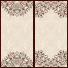 Set  templates banners card with ornaments oriental style