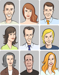 men and women faces vector collection