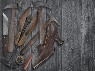 vintage shoemakers tools and shoe