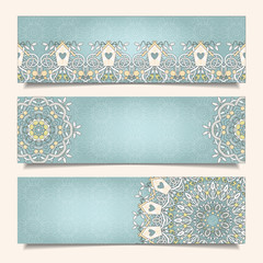 Set of horizontal banners with delicate ornament.
