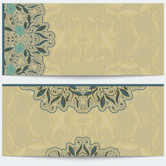 Vintage greeting card with oriental pattern  ornament on beige