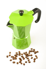 Moka coffee pot isolated on the bright background