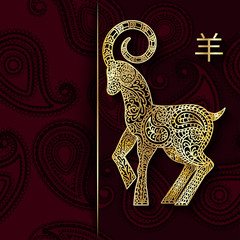 Rich Christmas burgundy background with golden goat