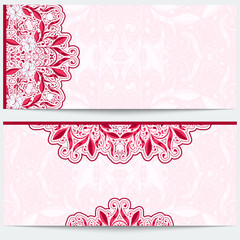 Greeting card with a pink floral pattern. Gentle east ornament