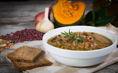 Vegetable soup with pumpkin and onion