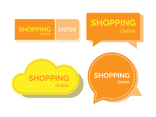 Shopping online word banners