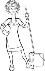 whiteboard drawing - cartoon angry housewife