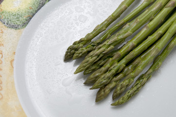 Fresh Asparagus with Water Droplets