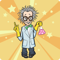 Cartoon standing mad scientist