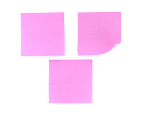 Pink note on white background
