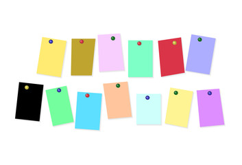 colored sheets of paper on white background