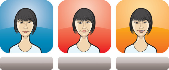 asian woman face three expressions
