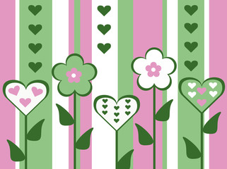 pink and green flower heart valentines striped background