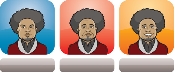 black man afro face three expressions
