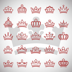 Crown Icons Set - Isolated On Gray Background