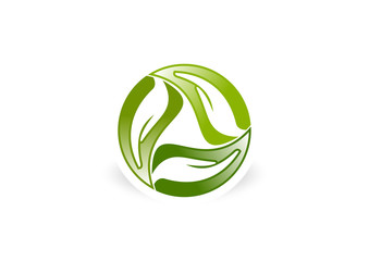 hand care leaf recycle vector logo design