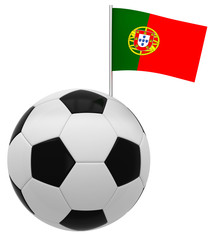 Football with flag of Portugal