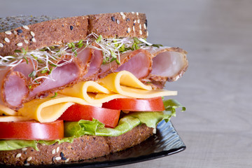 Deli meat sandwich with turkey