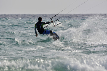 kitesurfing in the ocean