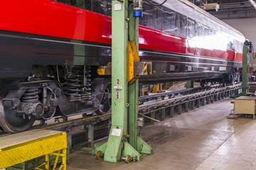 lifting a railway wagon for maintenance