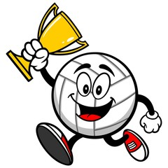 Volleyball Mascot Running with Trophy