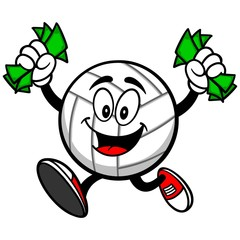 Volleyball Mascot with Money