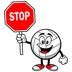 Volleyball Mascot with Stop Sign