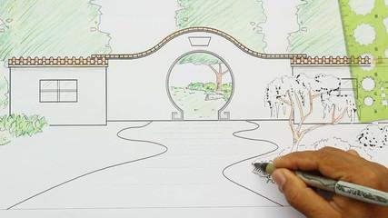 Landscape architect design Chinese garden plan