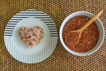 Heart shape brown rice
