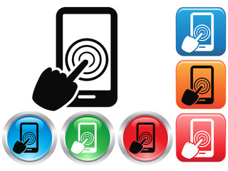 Hand Touch screen smart phone sign buttons icon