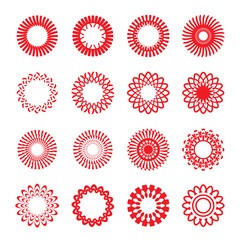 Set of red vector geometric stars