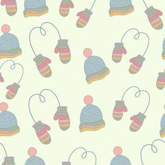 Semless hand drawn winter clothes pattern. Set mittens, hat, ice