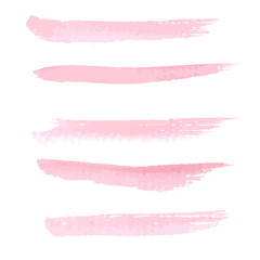 Hand drawn pastel  pink color watercolor brushstroke line