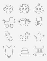 Baby icon set, art vector