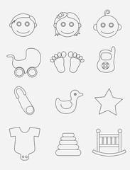 Baby icon set, art vector