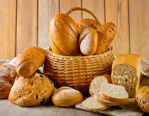 Different fresh bread in a basket