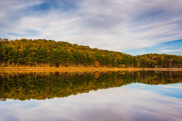 Autumn reflections in Sheppard-Meyers Reservoir, in Hanover, Pen