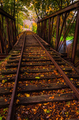 Autumn leaves on a railroad bridge in York County, Pennsylvania.