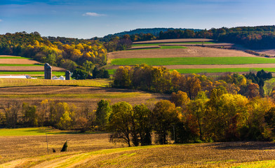 Autumn view of rolling hills in rural York County, Pennsylvania.
