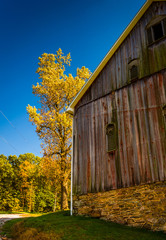 Barn and autumn color in rural York County, Pennsylvania.