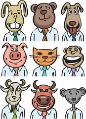 Cartoon business animals