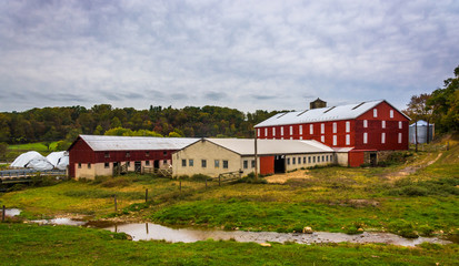 Barn and small stream on a farm in rural York County, Pennsylvan
