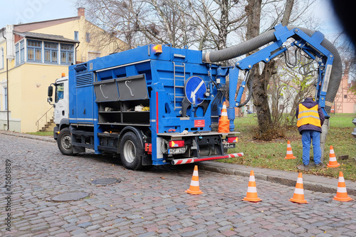 Klaipeda, Lithuania, 2014: truck for pumping septic tank - 75058889