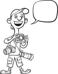 whiteboard drawing - funny cartoon photographer