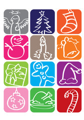 Christmas Doodles Vector Icon Set