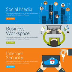 concept for social media, business workspace and security