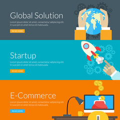 concept for global solution, startup and e-commerce