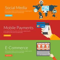 concept for social media, mobile payments and e-commerce