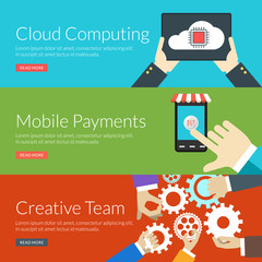 concept for cloud computing, mobile payments and creative team