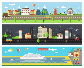 Beautiful Vector City Landscape Banners